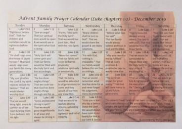 Advent Prayer Calendar